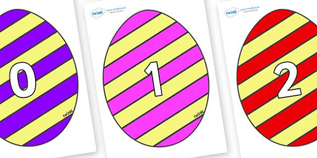 Numbers 0-50 on Easter Eggs (Stripes) - 0-50, foundation stage numeracy, Number recognition, Number flashcards, counting, number frieze, Display numbers, number posters