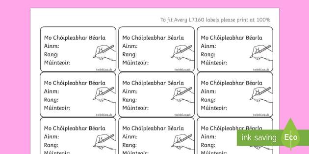 Irish Gaeilge Pupil English Copybook Labels