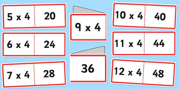 Tabla înmulțirii cu 4 - Cartonașe joc