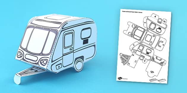 Houses and Homes Caravan Paper Model - activity, activities, craft