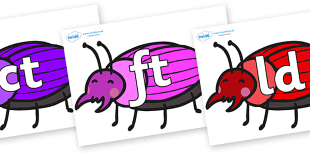 Final Letter Blends on Beetles - Final Letters, final letter, letter blend, letter blends, consonant, consonants, digraph, trigraph, literacy, alphabet, letters, foundation stage literacy