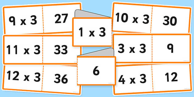 3 Times Table Cards - times table, times tables, cards, 3, fold, activity