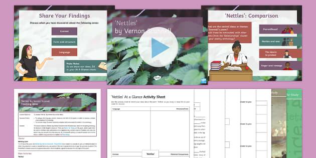 Nettles by Vernon Scannell Lesson Pack - GCSE Poetry, Nettles, Vernon Scannell, War Poets, War Poetry, Edexcel, Relationships cluster.