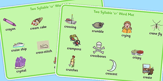 Two Syllable CR Word Mats - two syllable, cr, word mats, word, mats, sound, cr sound