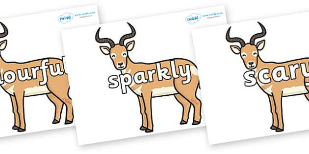 Wow Words on Antelopes - Wow words, adjectives, VCOP, describing, Wow, display, poster, wow display, tasty, scary, ugly, beautiful, colourful sharp, bouncy