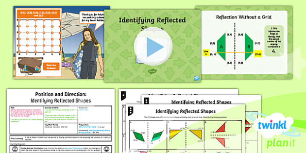 PlanIt Y5 Position and Direction Lesson Pack (6) Identifying Reflected Shapes - Position and Direction, reflection, coordinate, reflective symmetry, mirror line