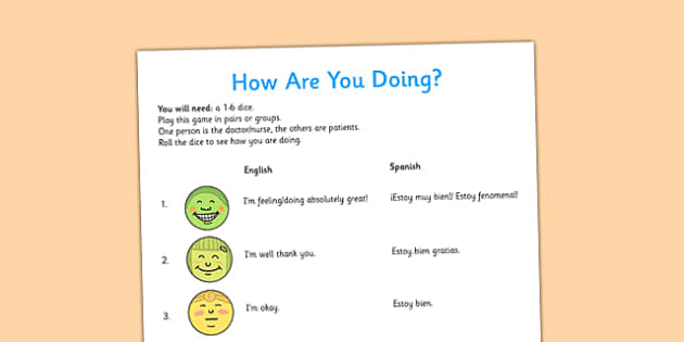 Spanish How are You Game - spanish, how are you, game, activity, class, questions, phrases