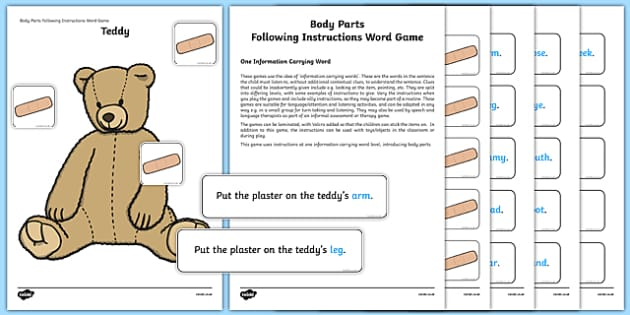 Body Parts Following Instructions – 1 ICW Game