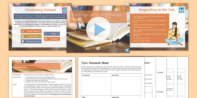 AQA P1 Reading Booklet Lesson Pack - AQA P1 Reading Booklet, paper one., English Language, Spies, extracts, exam practice, English revisi
