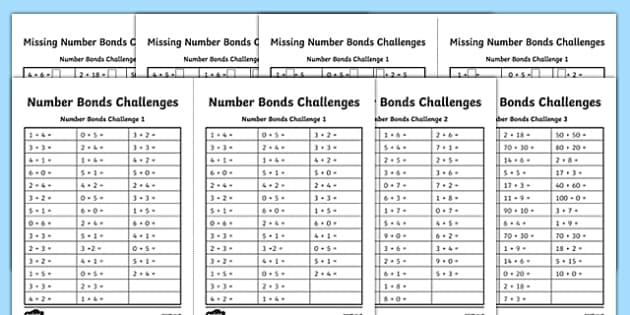 Number Bonds Challenge Activity Sheet Pack - number bonds, challenge, activity, sheet, pack, worksheet