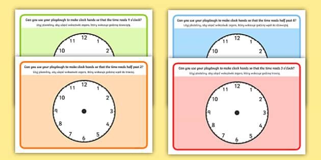 O'Clock Half Past and Quarter Past Time Playdough Mat