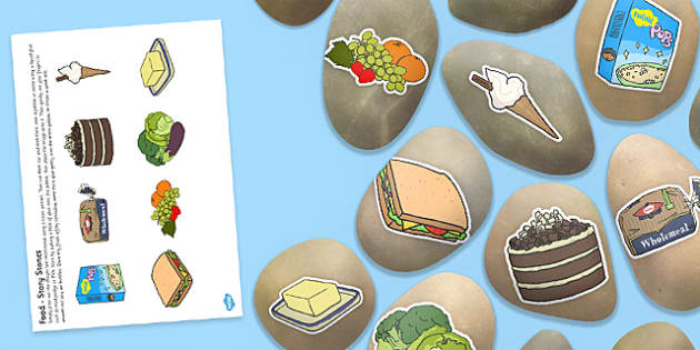 Food Themed Story Stones Image Cut Outs - food, themed, story stone, image, cut outs