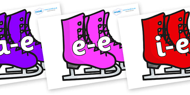 Modifying E Letters on Ice Skates - Modifying E, letters, modify, Phase 5, Phase five, alternative spellings for phonemes, DfES letters and Sounds