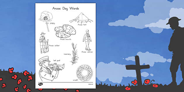 Anzac Day Words Colouring Sheet - anzac day, anzac, colour in