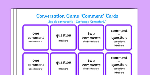 Conversation Game Comment Cards Purple Romanian Translation - romanian, conversation game