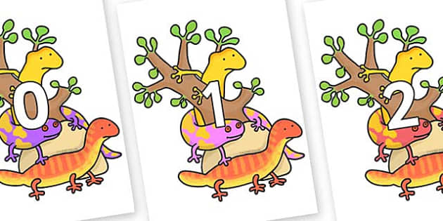 Numbers 0-31 on Reptiles to Support Teaching on The Great Pet Sale - 0-31, foundation stage numeracy, Number recognition, Number flashcards, counting, number frieze, Display numbers, number posters