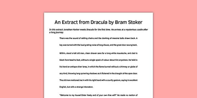 Dracula Extract - dracula, extract, story, ks3, bram stoker, vampire