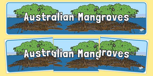 Australian Mangroves Display Banner - australia, Science, Habitats, Australian Curriculum, Living, Living Adventure, Environment, Living Things, Animals, Plants, Display Banner, Good to Grow, Ready Set Grow, Life on Earth, Mangroves