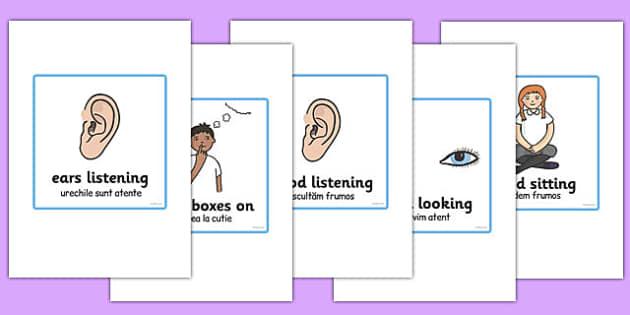 Good Listening Cards Romanian Translation - romanian, good listening, cards, good, listening