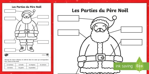 Feuille d'activités : Les parties du Père Noël - Noël, Christmas, Père Noël, Santa, label, pantalon, bottes, manteau, barbe,French