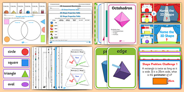 CfE Numeracy and Mathematics, First Level, Shape, Position and Movement – 2D Shapes and 3D Objects Resource Pack-Australia