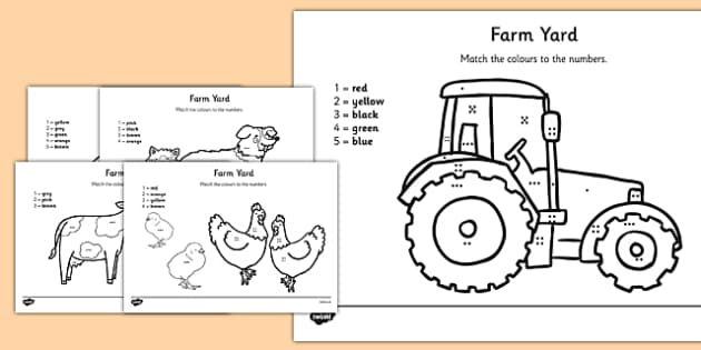 Farm Colour by Number Counting Activity Sheet - colour, number, counting, activity, colour by number, count, farm, worksheet