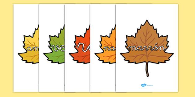 Palabras de colores en hojas de otoño