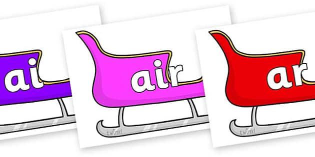Phase 3 Phonemes on Christmas Sleighs (Multicolour) - Phonemes, phoneme, Phase 3, Phase three, Foundation, Literacy, Letters and Sounds, DfES, display