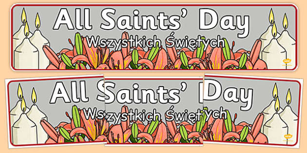 All Saint's Day Display Banner Polish Translation - polish, all saints day, display banner, display, banner