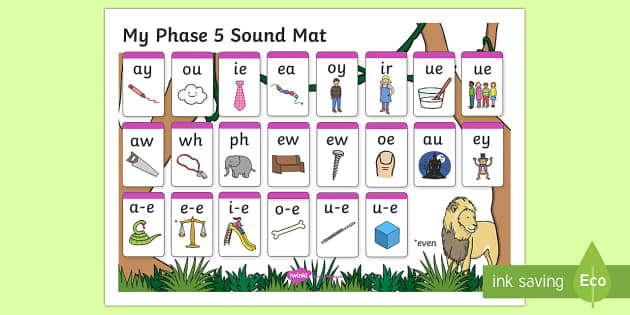 Jungle Themed Phase 5 Sound Mat - Phase 5, sound mat, phase 5 sound mat, jungle themed sound mat, phase 5 jungle themed, phase 5 jungle sound mat