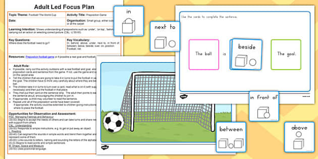 Football Preposition Game Adult Led Focus Resource Pack - sport, english, grammar, place, under, over, themed, early years, ks1, ks2, teacher, teaching assistant, australia