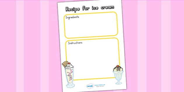 Editable Ice Cream Recipe Template - ice cream, recipe template
