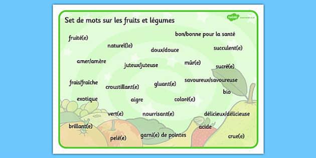 Set de mots su les fruits et légumes French - french, fruit, vegetable, descriptive, word mat