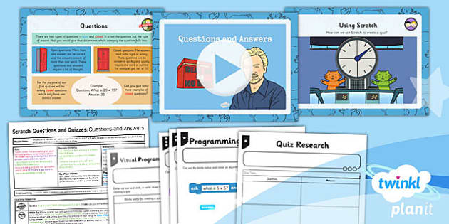 PlanIt Computing Y4 Scratch Questions Quizzes Lesson 1 Question Answer Pack