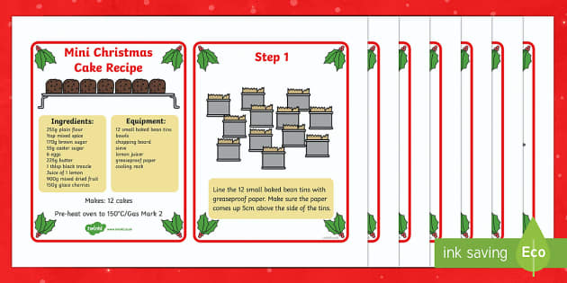 Mini Christmas Cake Recipe Cards - recipe cards, recipe, christmas cake, how to make a christmas cake, mini christmas cake, instructions, recipes for kids, kids recipes, cooking, baking, baking for kids, flashcards, recipe information, method