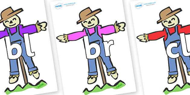 Initial Letter Blends on Scarecrows - Initial Letters, initial letter, letter blend, letter blends, consonant, consonants, digraph, trigraph, literacy, alphabet, letters, foundation stage literacy