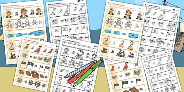 Pirates Size Matching Worksheets - pirates, sizes, match, order