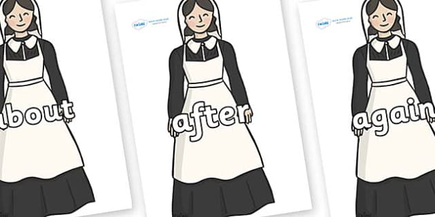 KS1 Keywords on Florence Nightingale - KS1, CLL, Communication language and literacy, Display, Key words, high frequency words, foundation stage literacy, DfES Letters and Sounds, Letters and Sounds, spelling