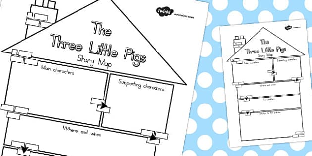 The Three Little Pigs Story Map - australia, story, map, pigs