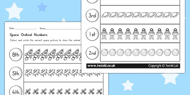 Space Themed Ordinal Numbers Worksheet - australia, space, number