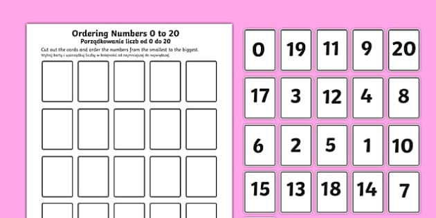 Ordering Numbers 0 to 20 Activity Polish Translation-Polish-translation