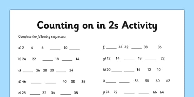 Counting in 2s Worksheet - counting, worksheet, 2, numbers, math