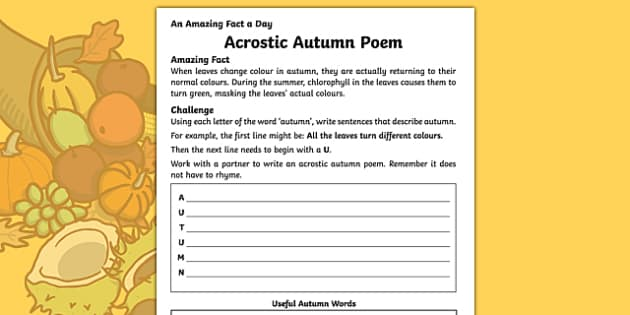 Acrostic Autumn Poem Activity Sheet, worksheet