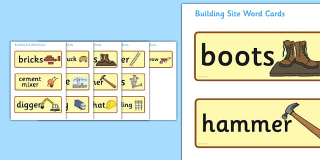 Building Site Word Cards - building site, bricks, word card, flashcards, cards, digger, crane, dump truck, lorry, cement mixer, hard hat, hammer, scaffolding