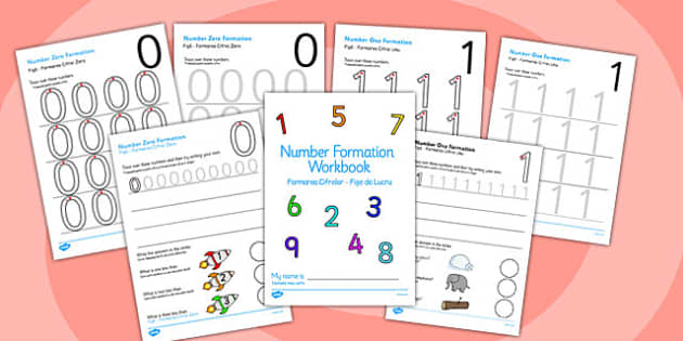 0-9 Number Formation Workbook Romanian Translation - romanian
