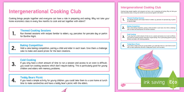 Intergenerational Cooking Club Teaching Ideas - Intergenerational Ideas, Cooking, Food, Hydration and Nutrition, deas, Activity Co-ordinators, Elder