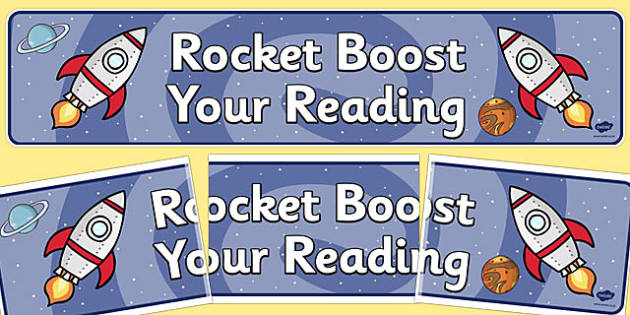 Rocket Boost Your Reading Display Banner - banners, displays