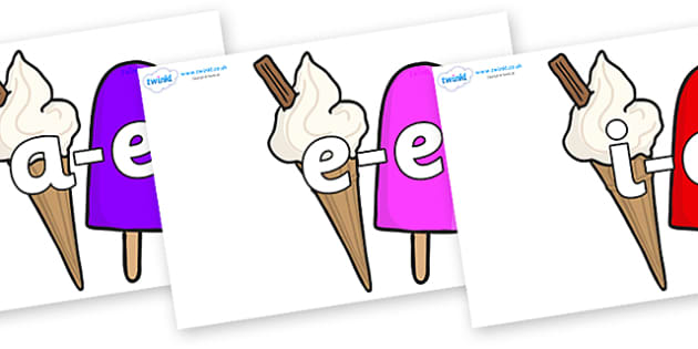 Modifying E Letters on Ice Cream and Lollies - Modifying E, letters, modify, Phase 5, Phase five, alternative spellings for phonemes, DfES letters and Sounds