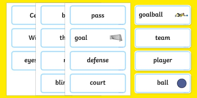 The Paralympics Goalball Word Cards - Goalball, ball, Paralympics, sports, wheelchair, visually impaired, word card, flashcards, cards, 2012, London, Olympics, events, medal, compete, Olympic Games