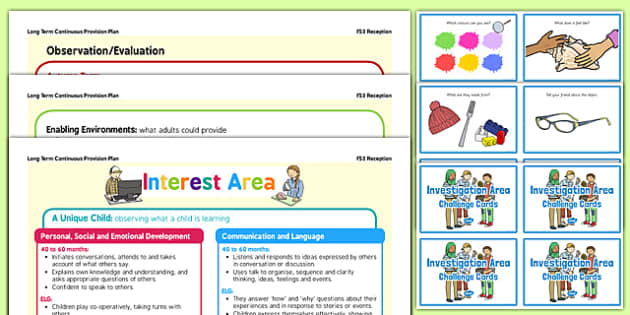 Interest Area  Continuous Provision Plan Poster and Challenge Cards Pack Reception FS2